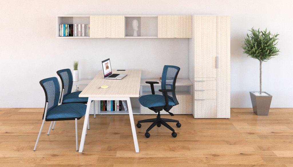 Tremain - escritorio altura ajustable - oficina minimalista con sillas azules y mesa blanca