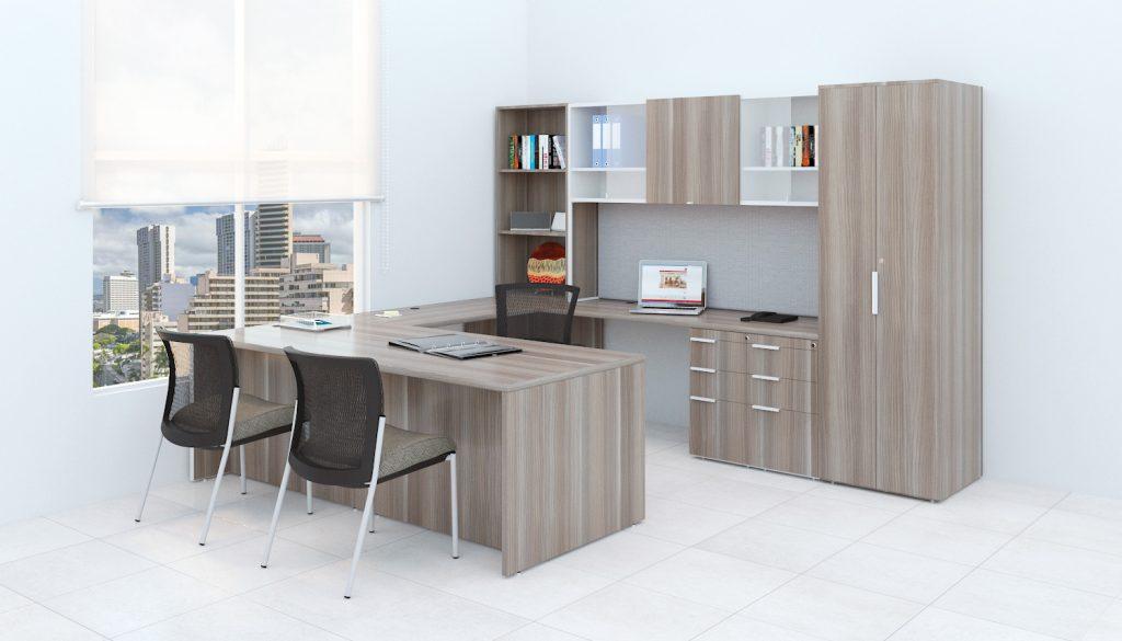 Tremain - escritorio altura ajustable - escritorios personalizados color cafe